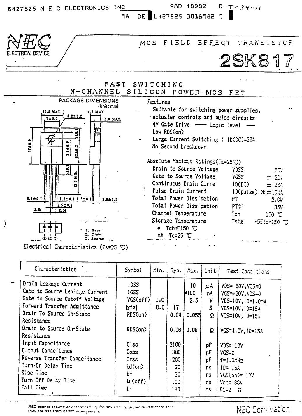 Tranzisztor N-MOSFET 60V 26A 35W <0.085R(15A) 2SK817 2SK817