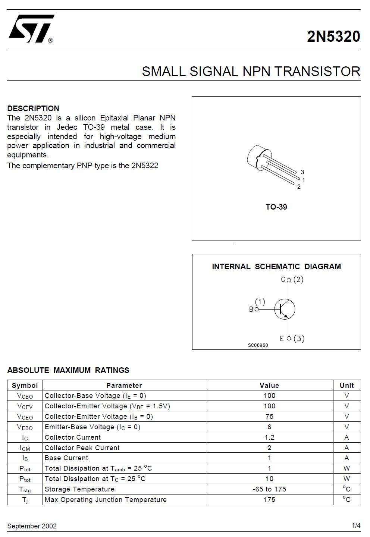 Tranzisztor NPN 100V 2A 10W >80nS NF/S 2N5320 2N5320 -
