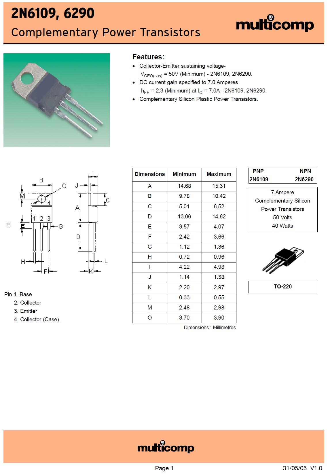 SI-P 50/60V 7A 40W >10MHz Cob:250pF 2N6109 -