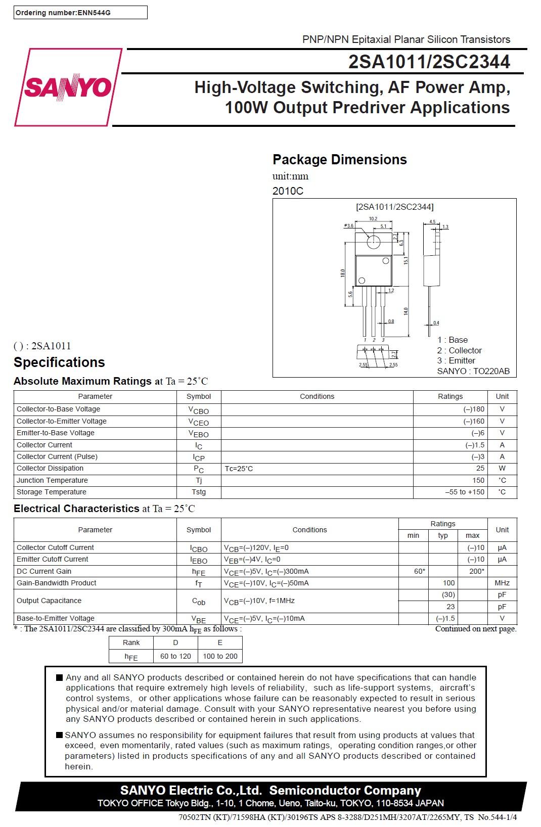 Tranzisztor PNP 180V 1.5A 25W 100MHzNF/SL 2SA1011 2SA1011 -