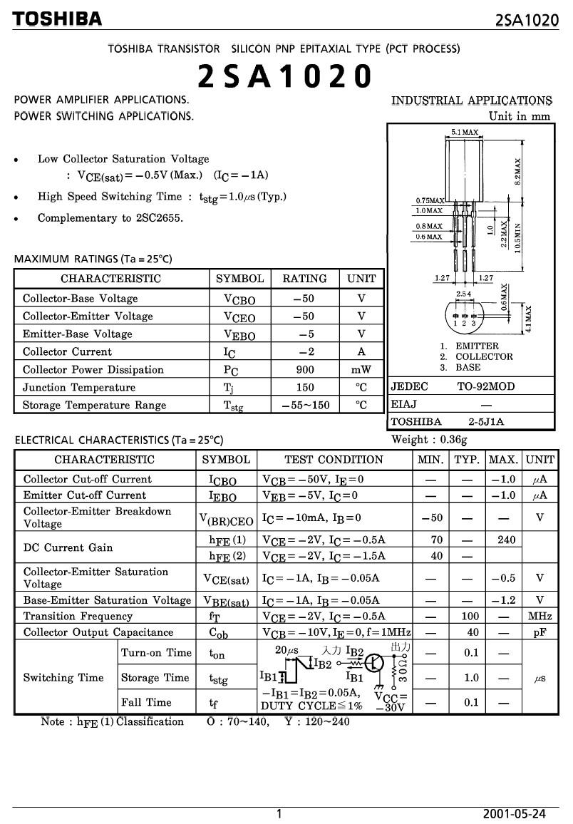 Tranzisztor PNP 50V 2A 0.9W 100MHz TO-92 2SA1020 2SA1020 -