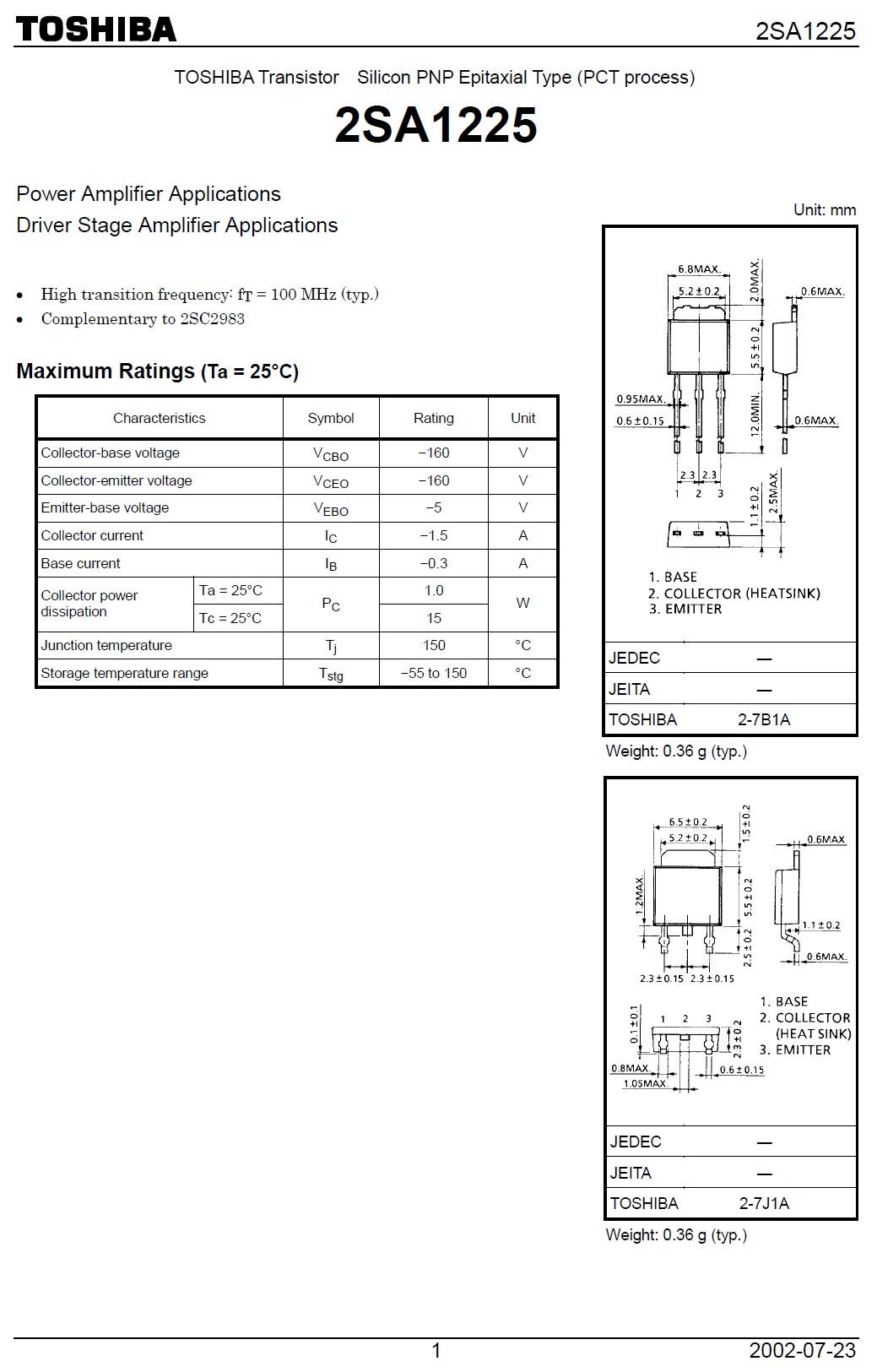 SI-P 160V 1.5A 15W 100MHz NF/S 2SA1225