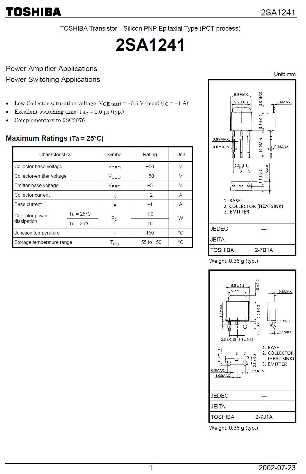 Tranzisztor PNP 50V 2A 10W 100MHz NF/SL 2SA1241 2SA1241