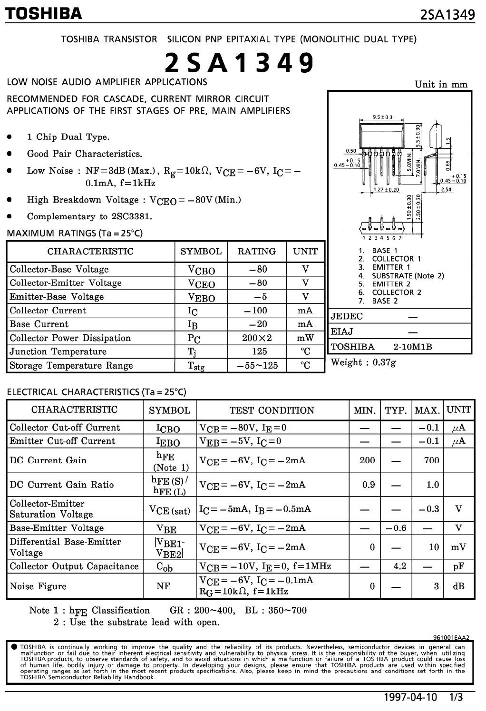 Tranzisztor PNP DUAL 80V 0.1A 0.4W 170MHz 2SA1349 2SA1349