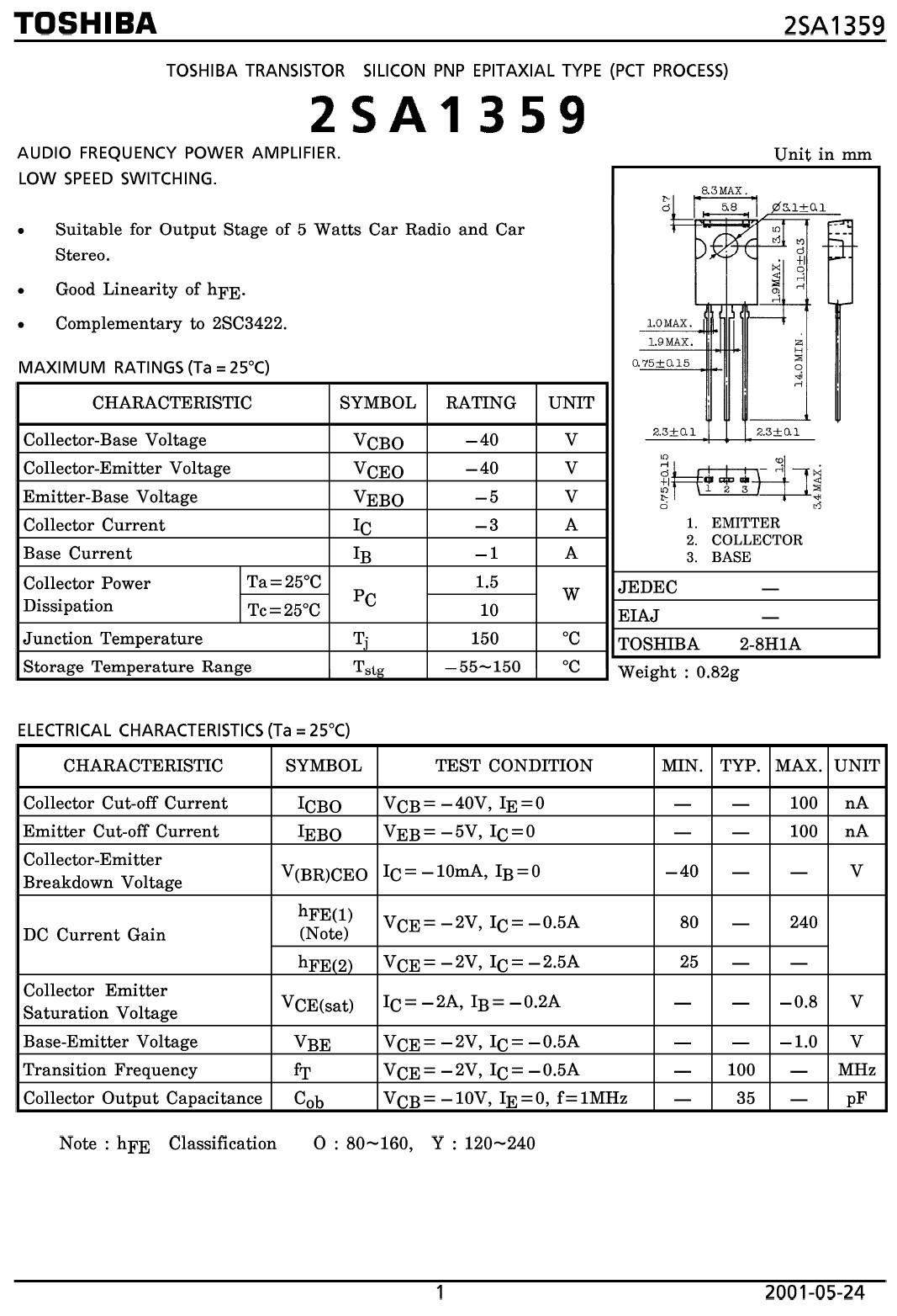 Tranzisztor PNP 40V 3A 10W 100MHz 2SA1359 2SA1359