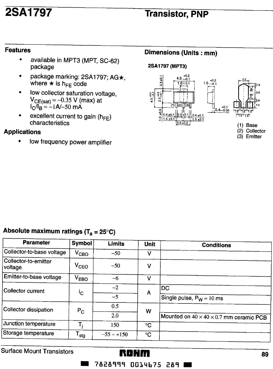 Tranzisztor PNP 50/50V 2A/5A 0.5W 200MHz SMD 2SA1797Q 2SA1797Q -