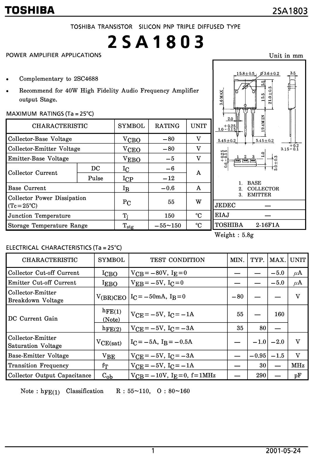 Tranzisztor PNP 80V 5A 55W 30MHz NF-E 2SA1803 2SA1803