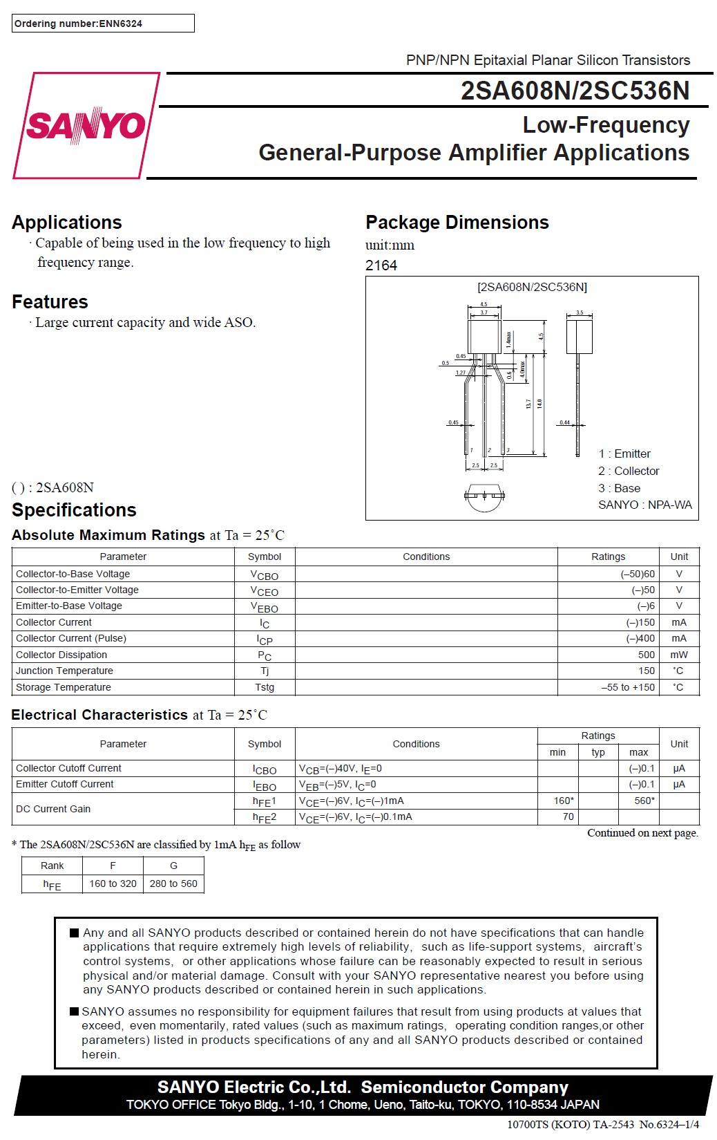 Tranzisztor PNP 50V 0.15A 0.5W 200MHz UNI 2SA608 2SA608