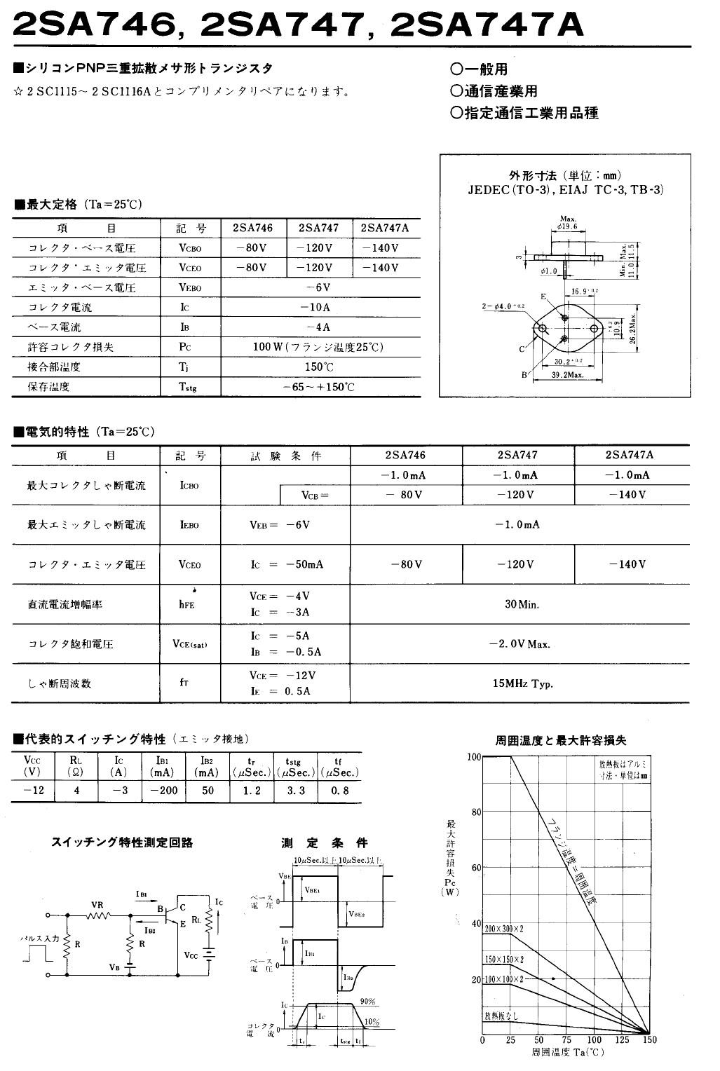 Tranzisztor PNP 120V 10A 100W 15MHz NF/SL 2SA747 2SA747 -