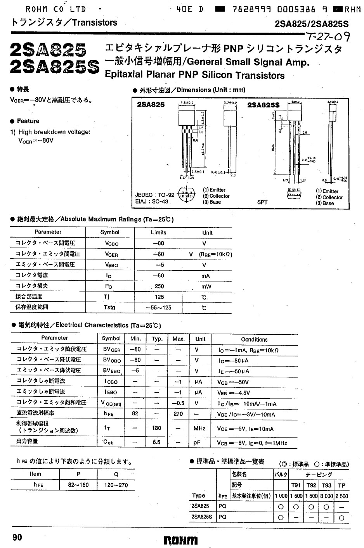 SI-P 80V 0.05A 0.15W 180MHz 2SA825 -