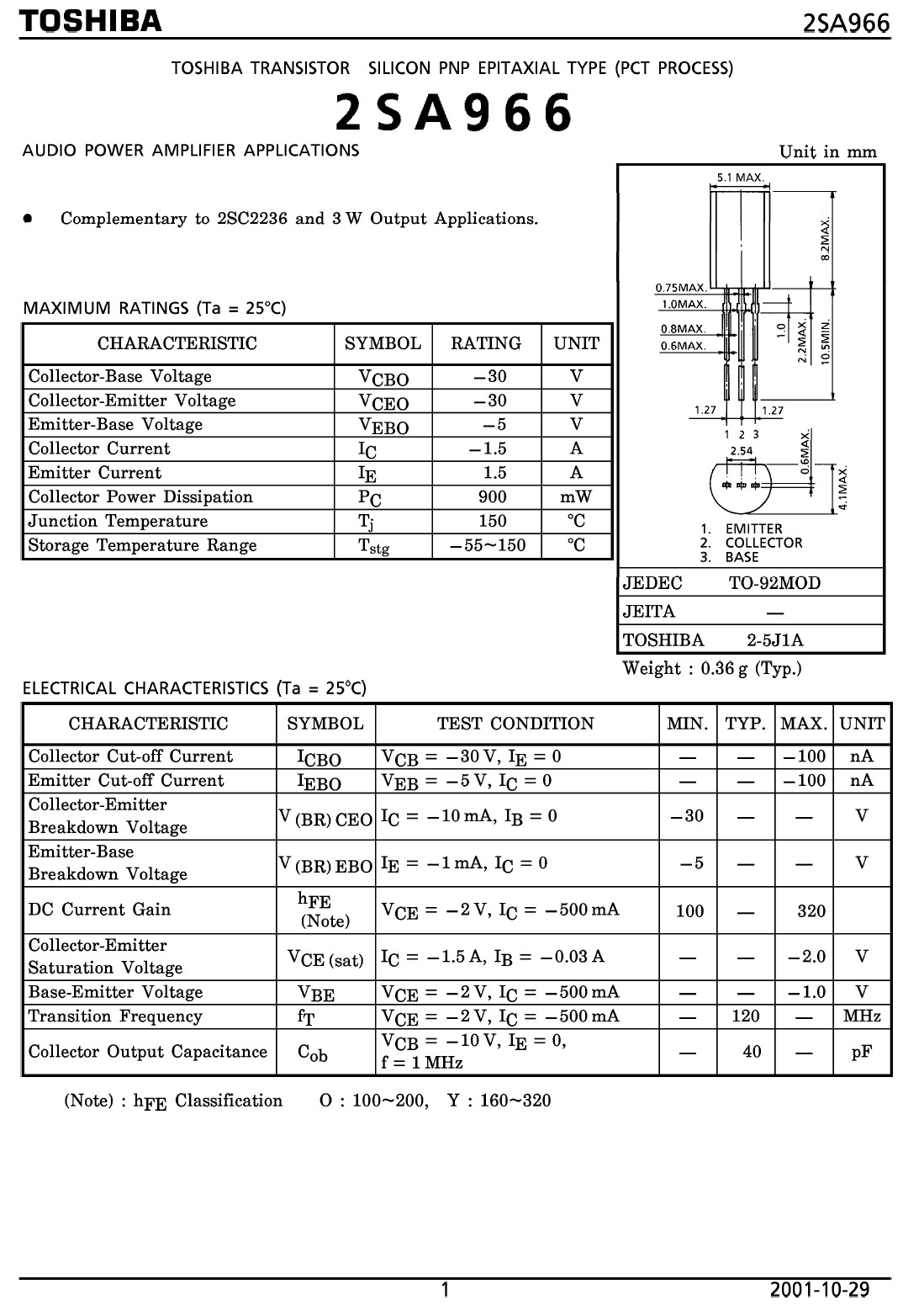 Tranzisztor PNP 30V 2A 1W 120MHz 2SA966A 2SA966A -
