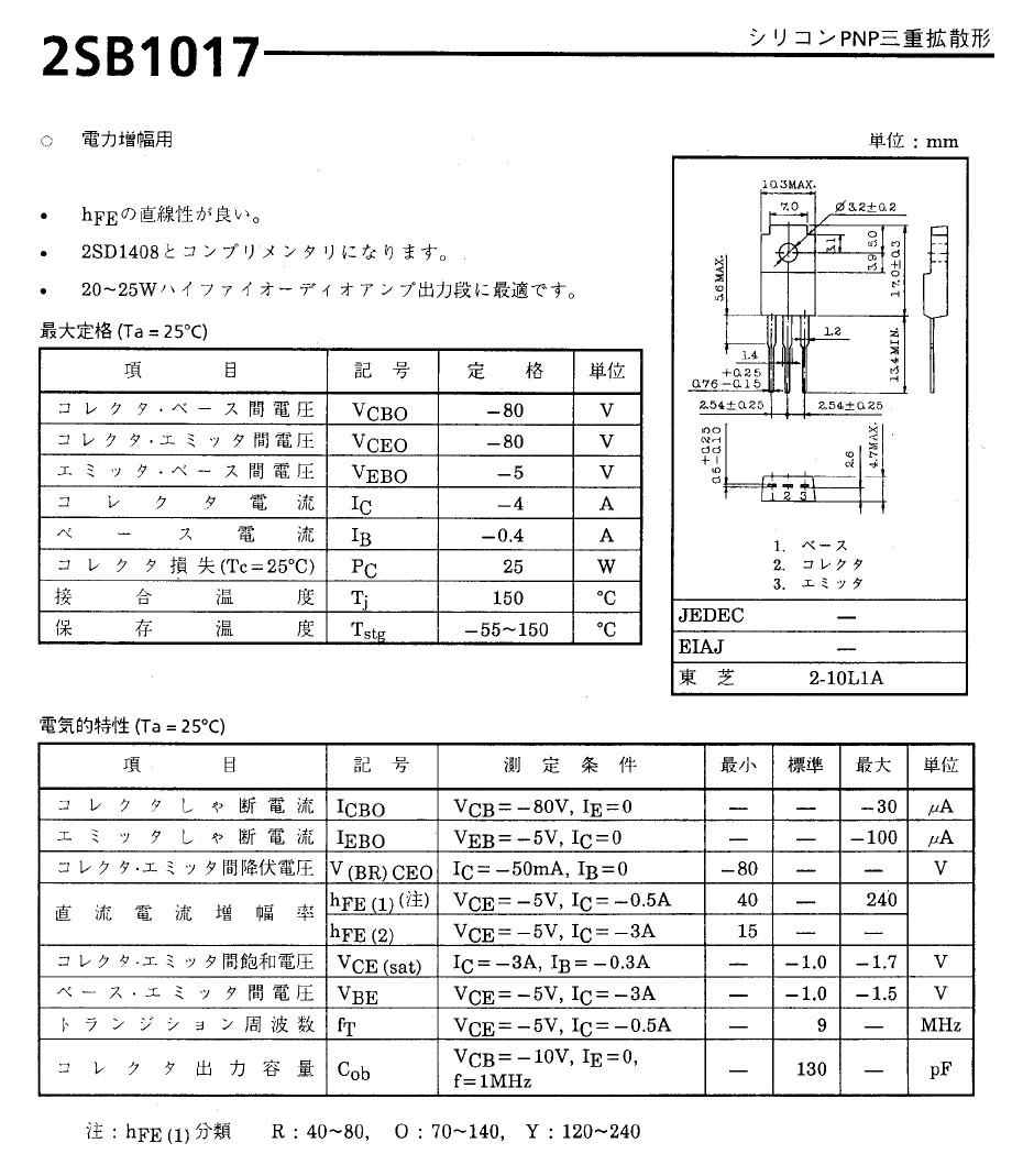 Tranzisztor PNP 80V 4A 25W 8MHz NF/SL 2SB1017 2SB1017