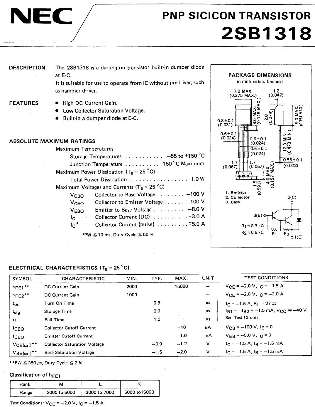 Tranzisztor PNP Darlington+D 100V 3A 1W 2SB1318 2SB1318