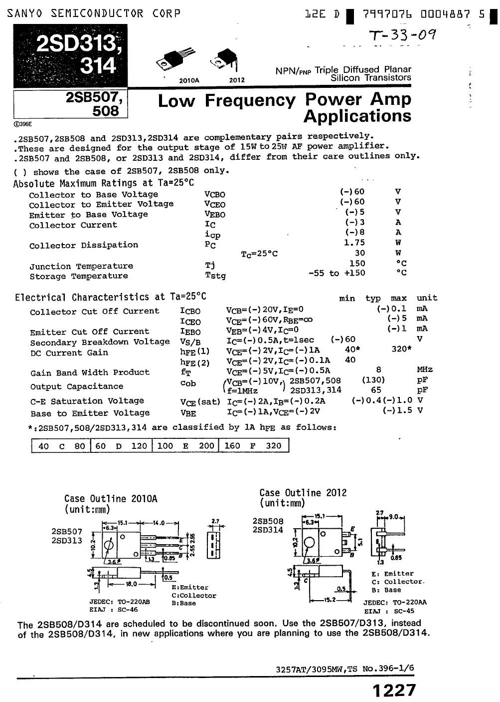 SI-P 60V 3A 30W >8MHz  NF/SL 2SB507 -