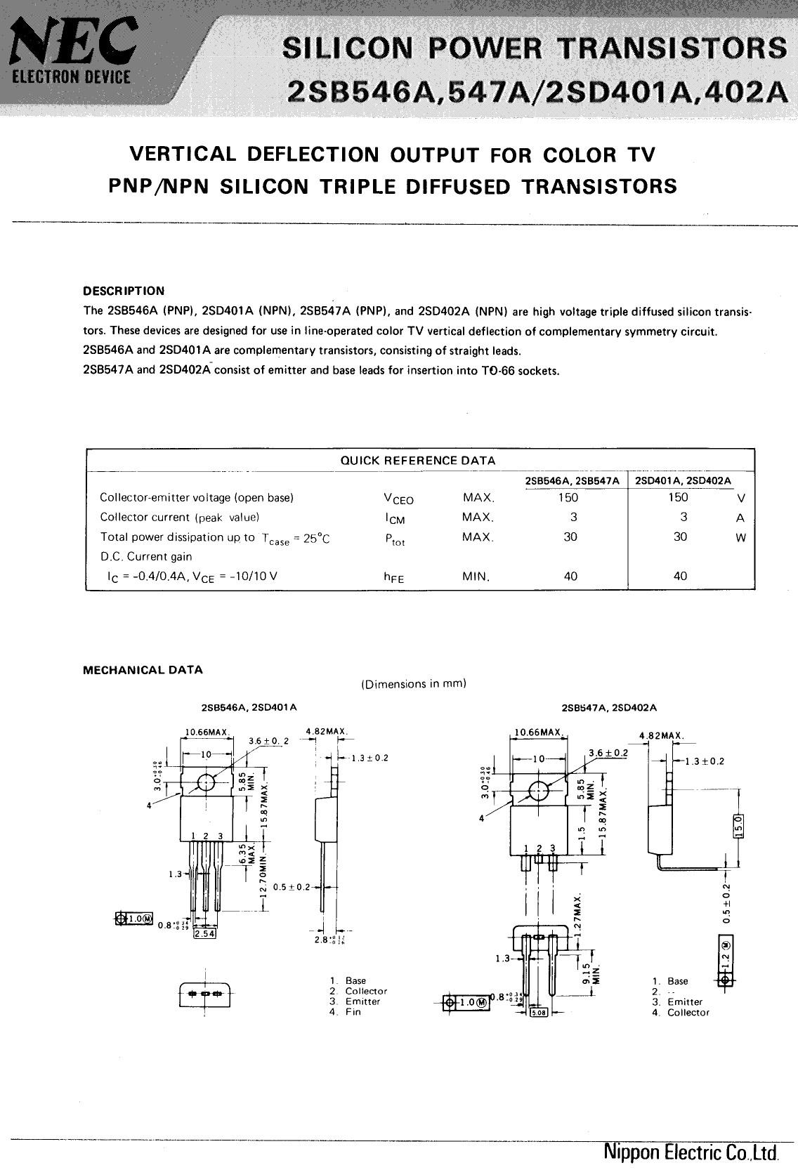 Tranzisztor PNP 200V/150V 2A 30W 7MHz TV-HA 2SB546A 2SB546A