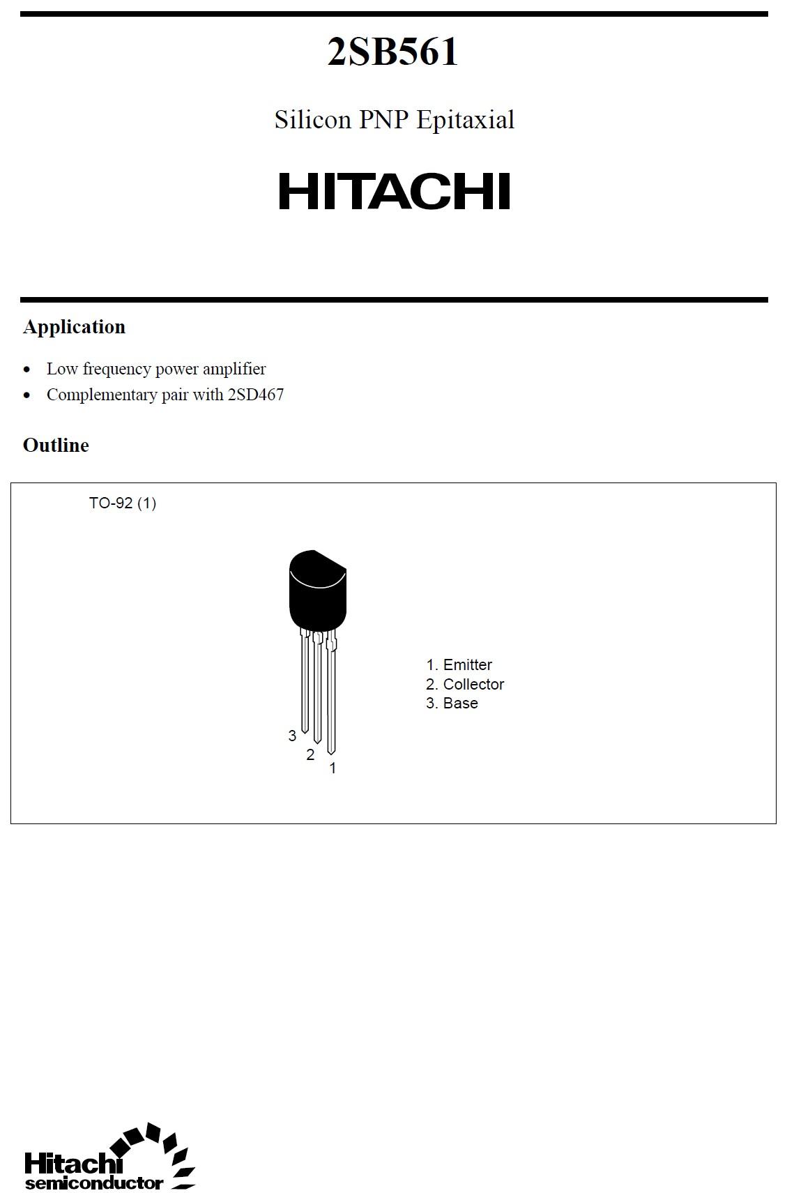 Tranzisztor PNP 25V 0.7A 0.5W 350MHz UNI 2SB561 2SB561 -