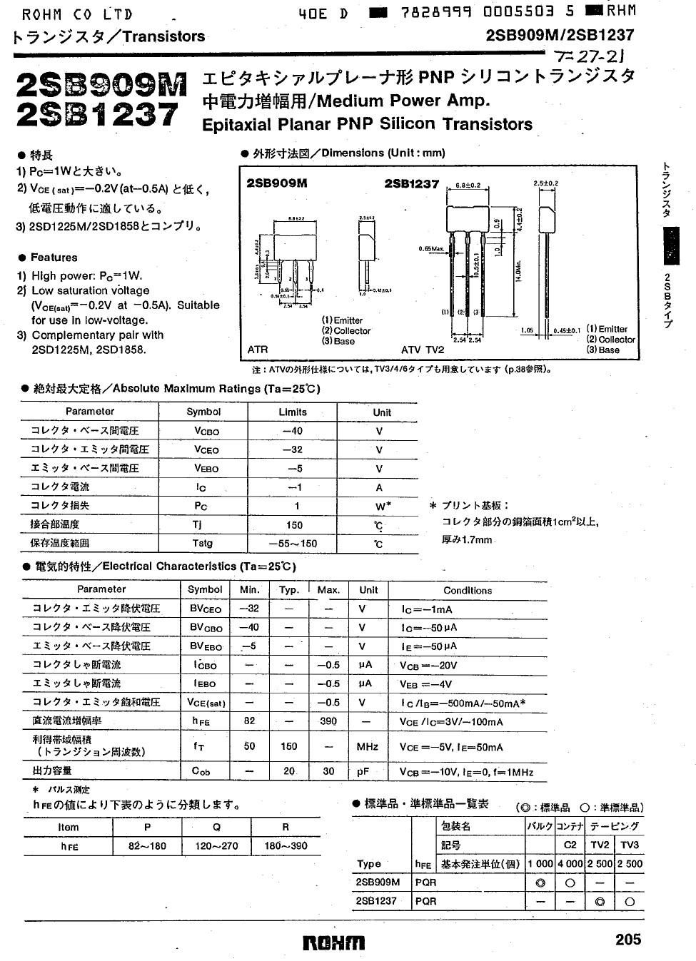 Tranzisztor PNP 40V 1A 1W 150MHz NF/E 2SB909 2SB909
