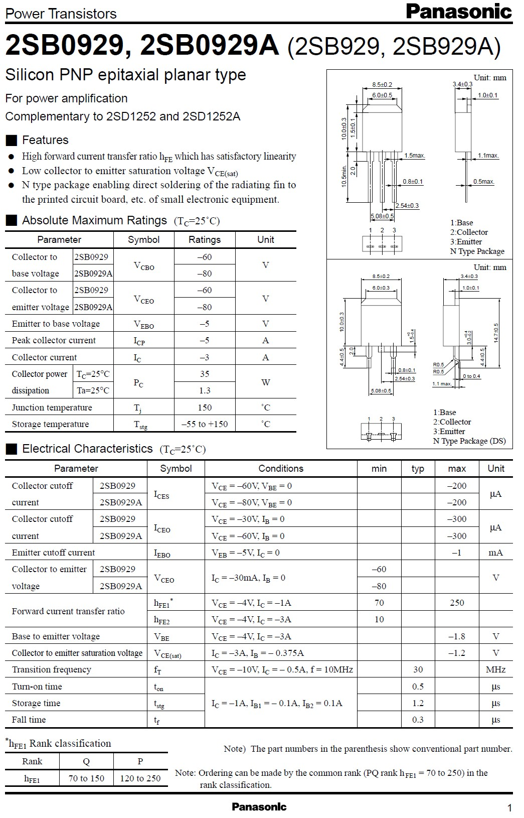Tranzisztor PNP 80V 3A 35W 30MHz NF/SL 2SB929A 2SB929A