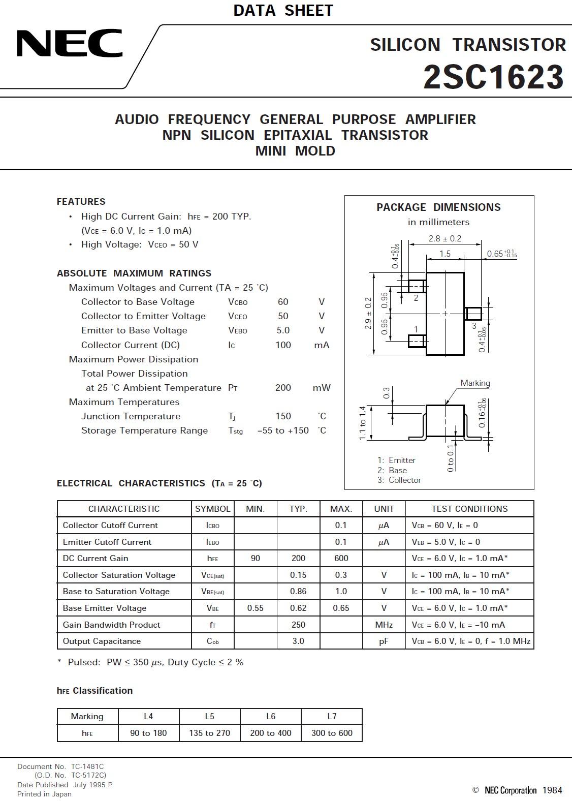 Tranzisztor NPN SMD 60V 0.1A 250MHz UNI 2SC1623 2SC1623