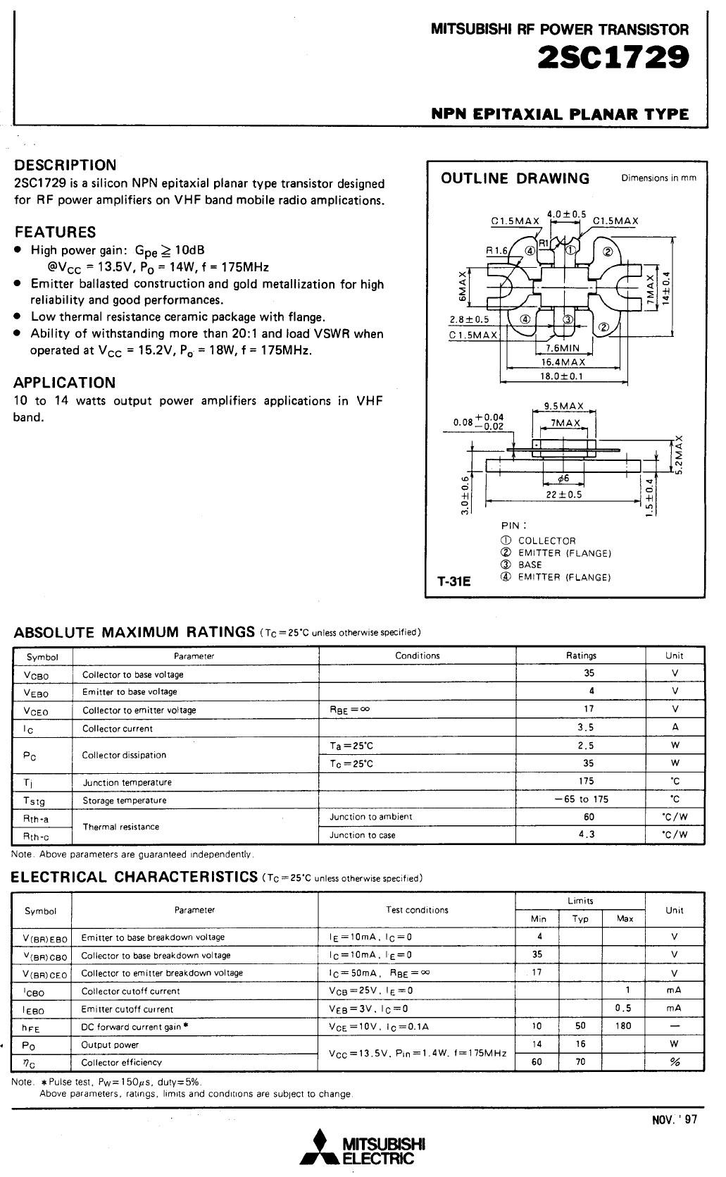 Tranzisztor NPN 36V 3.5A PQ=16W 175MHz 2SC1729 2SC1729
