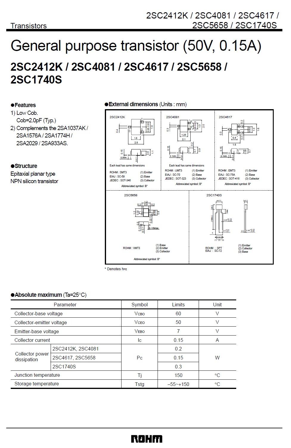 SI-N 60/50V 0.15A 0.3W 180MHz UNI 2SC1740