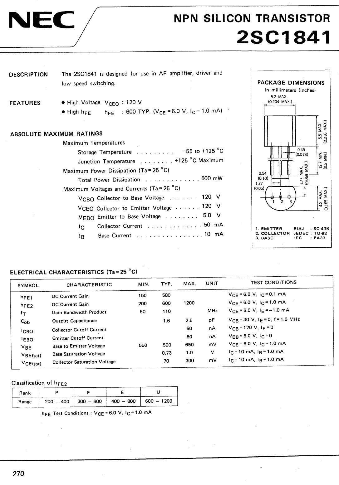 Tranzisztor NPN 120V 0.05A 0.5W 100MHzUNI 2SC1841 2SC1841 -