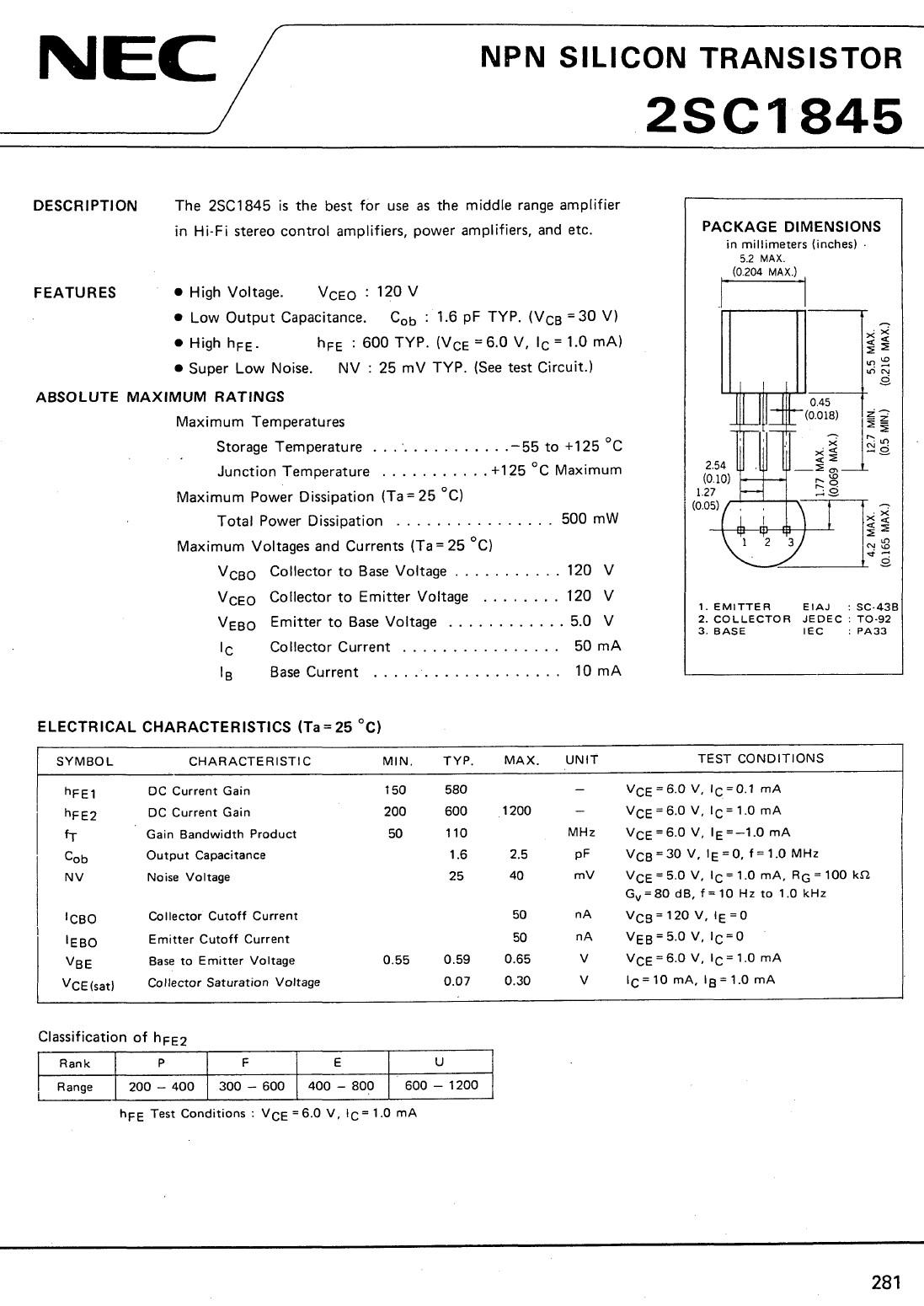 Tranzisztor NPN 120V 0.05A 0.5W 110MHz UNI 2SC1845 2SC1845 -