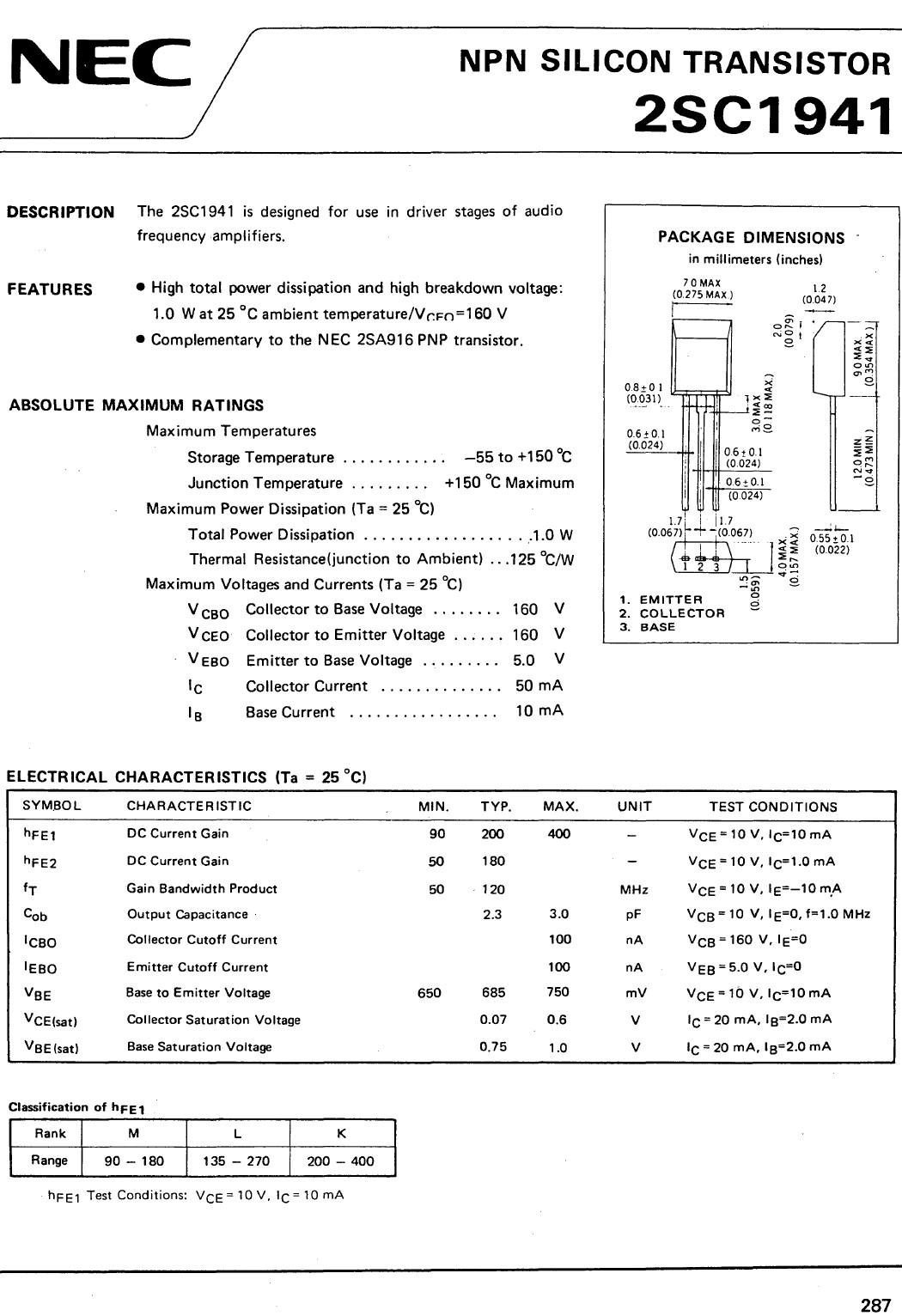SI-N 160V 0.05A 1W 120MHz NF 2SC1941