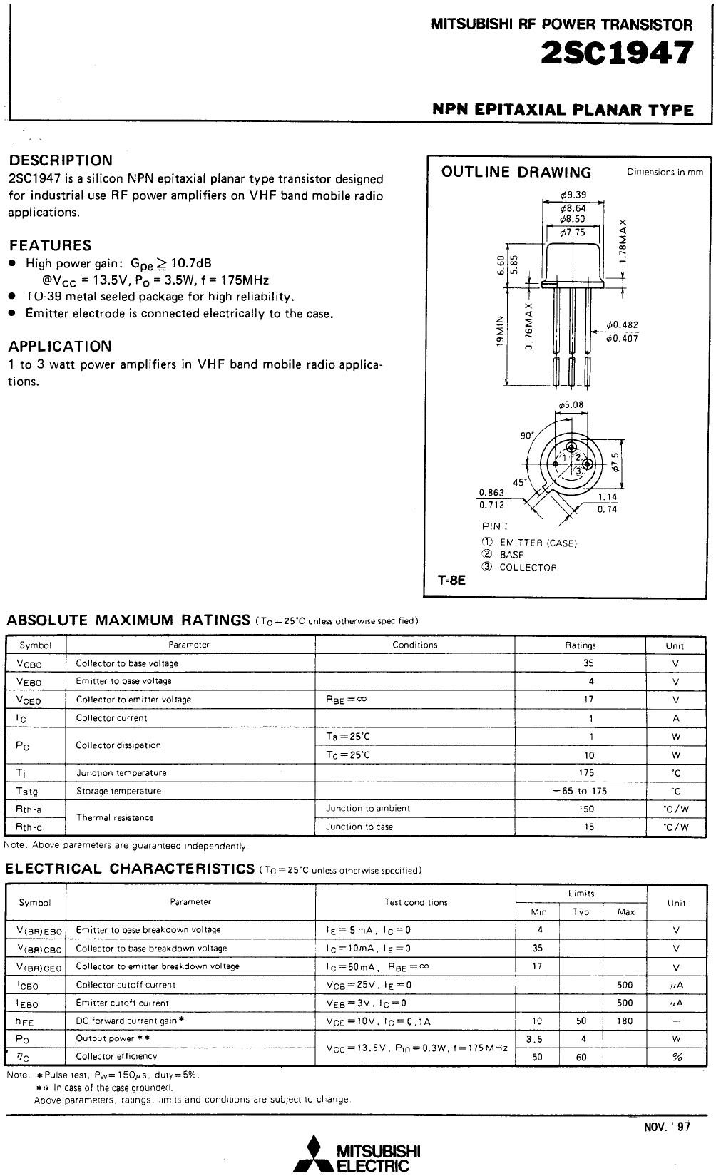 SI-N 35V 1A PQ=4W 175MHz VHF-E 2SC1947