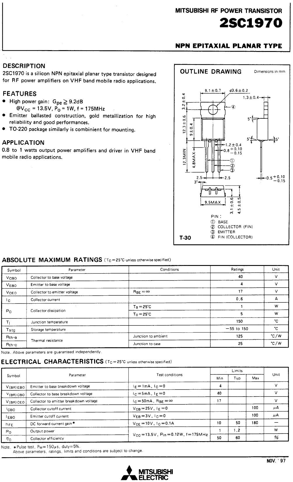 Tranzisztor NPN 40V 0.6A PQ=1.3W 175MHz V 2SC1970 2SC1970