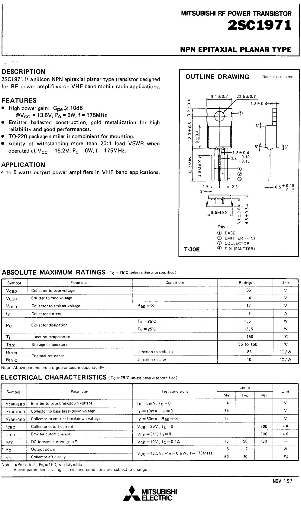 SI-N 35V 2A PQ=7W 175MHz VHF-L 2SC1971