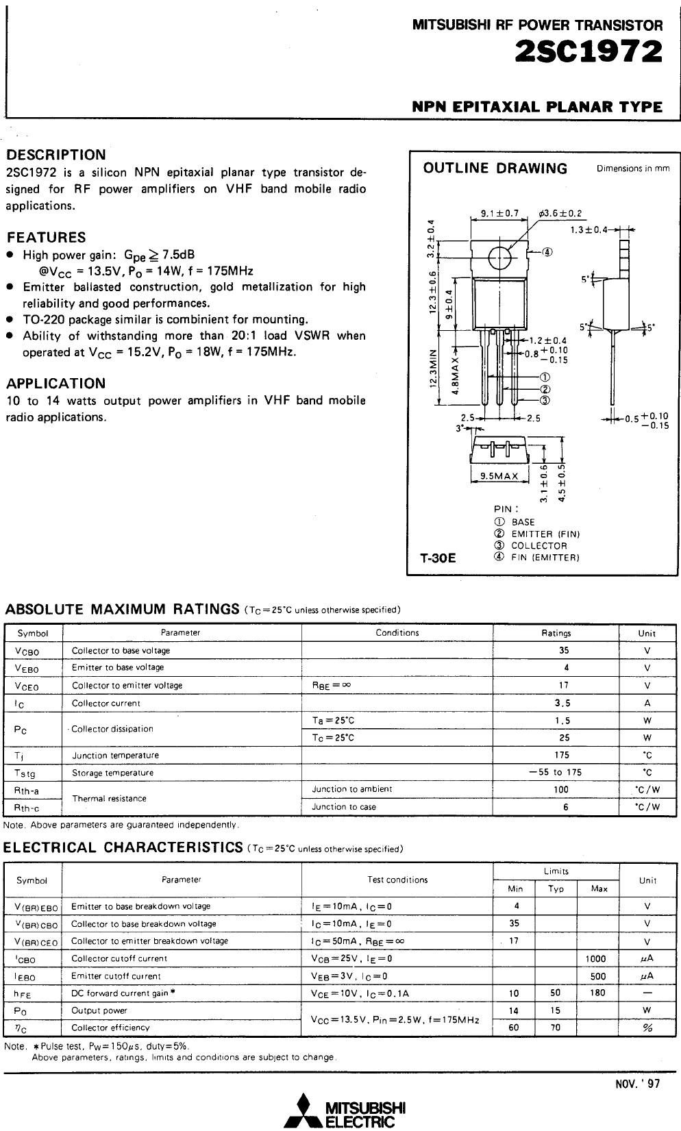 Tranzisztor NPN 35V 3.5A PQ=15W 175MHzVHF 2SC1972 2SC1972