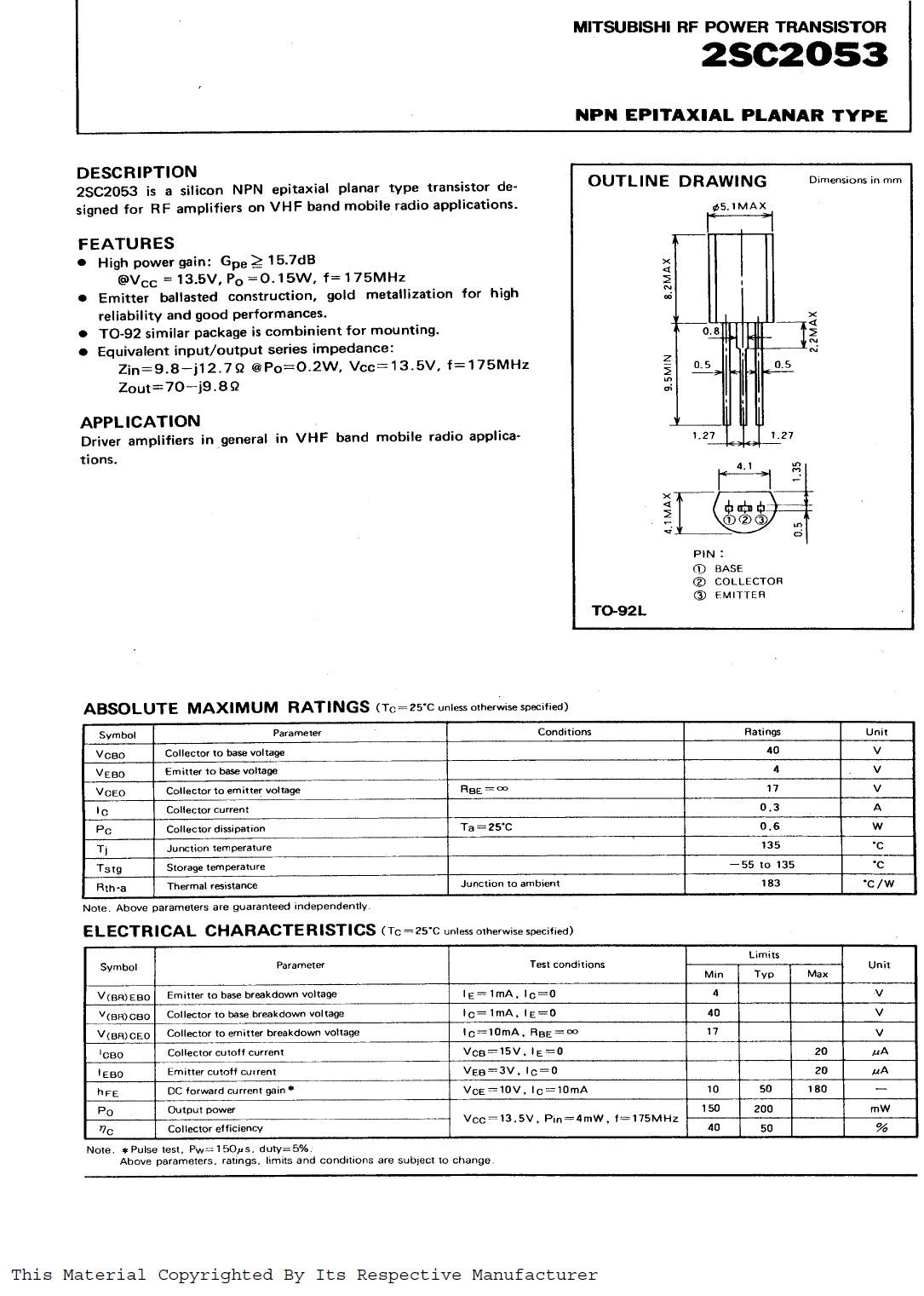 Tranzisztor NPN 40V/17V 0.3A PQ=0.2W (175MHz) 2SC2053 2SC2053 -
