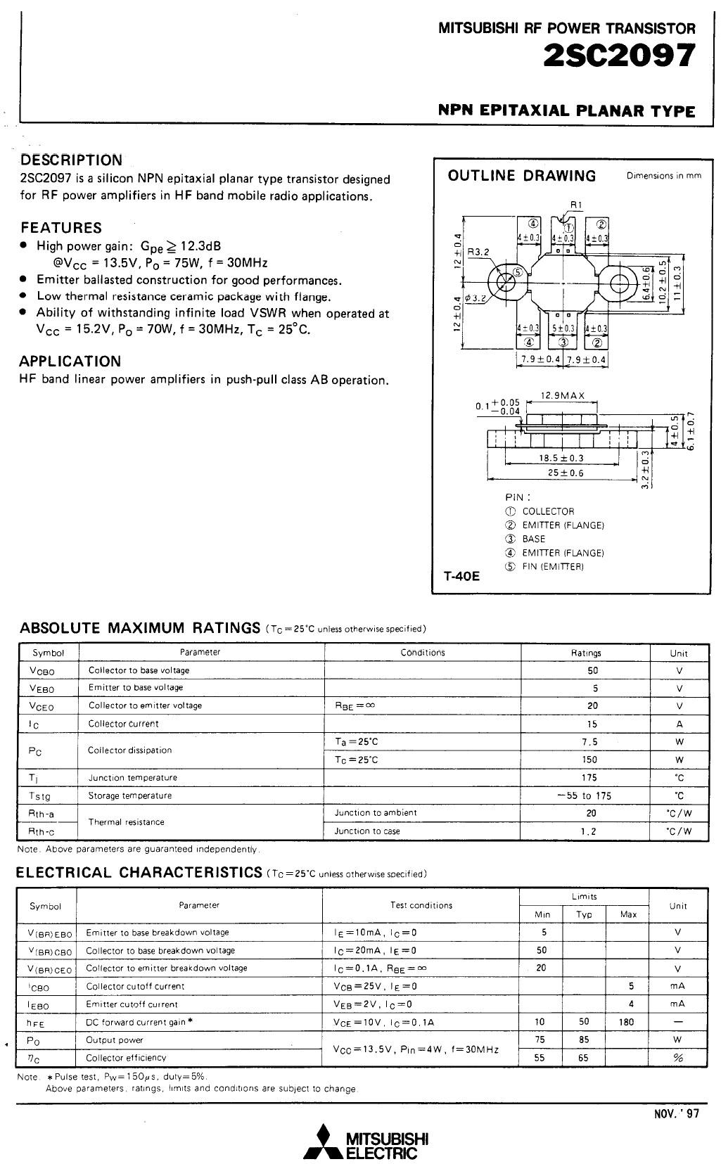 SI-N 50V 15A PQ=85W 30MHz AM-L 2SC2097
