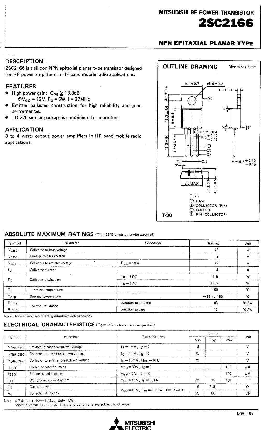 Tranzisztor NPN 75V 4A PQ>6W 27MHz HF-L 2SC2166-MIT 2SC2166-MIT -