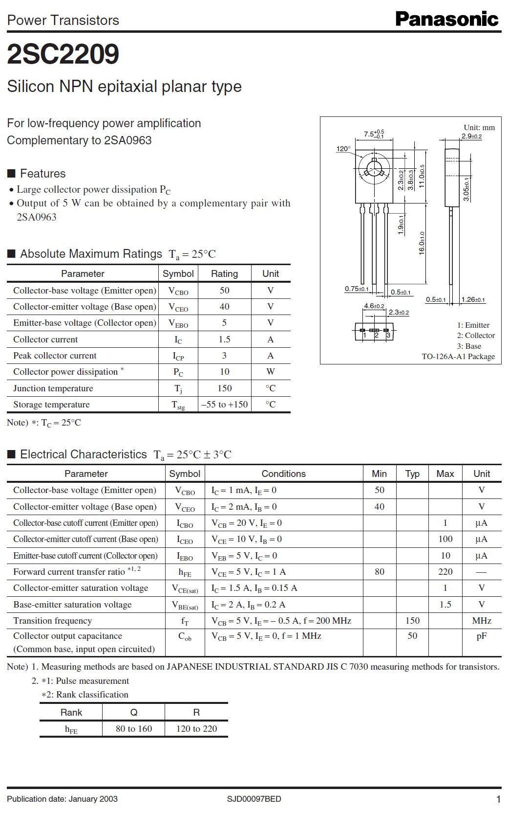 Tranzisztor NPN 50V 1.5A 10W 150MHz NF/SL 2SC2209 2SC2209 -