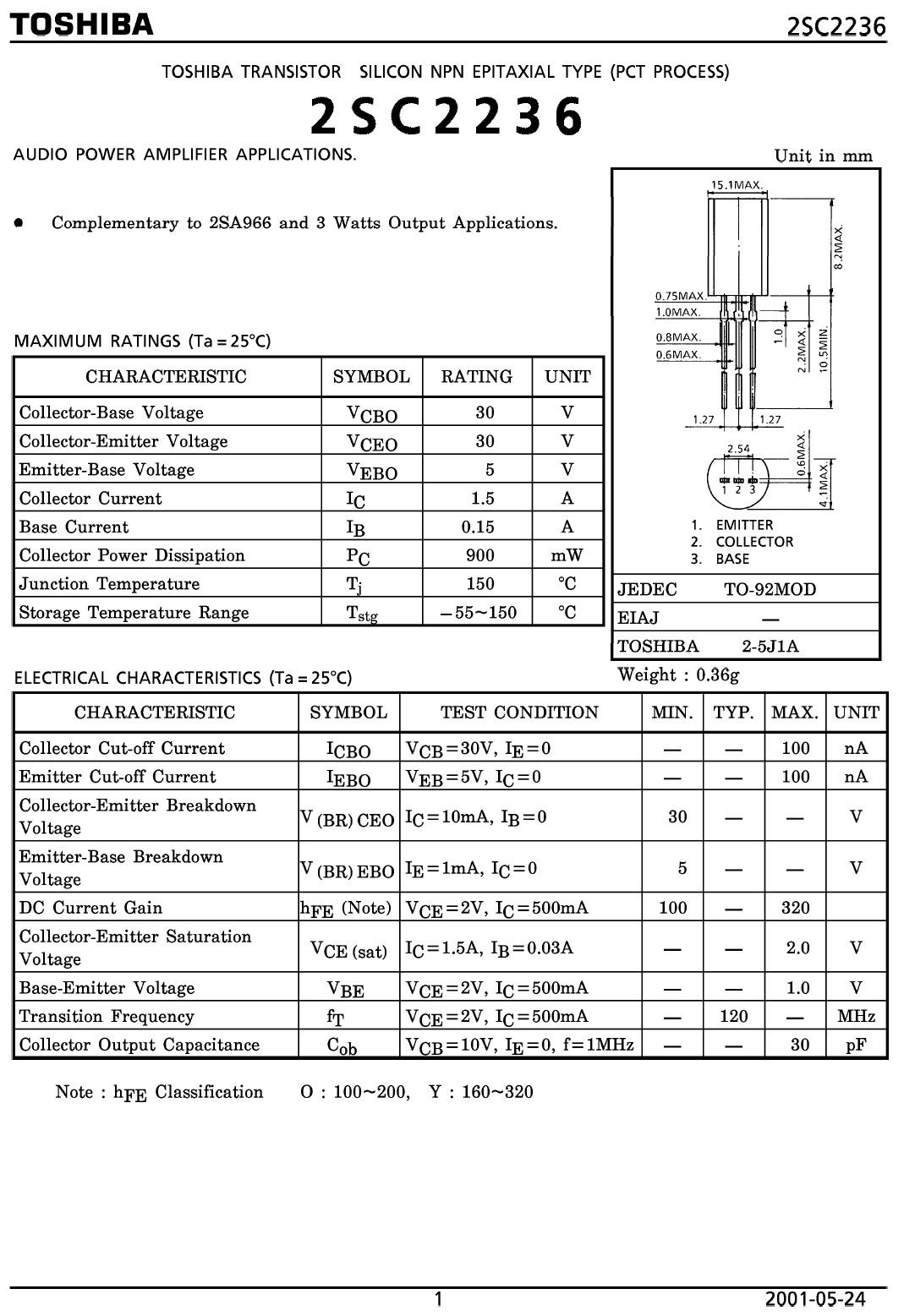 Tranzisztor NPN 30V 1.5A 0.9W 120MHz NF 2SC2236 2SC2236 -