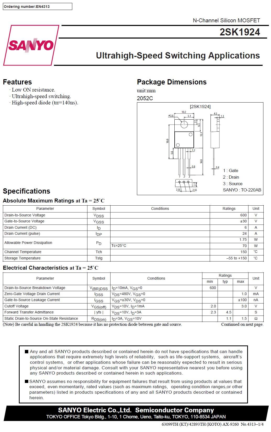N-MOS 600V 6A 70W <1.5r (3A) 2SK1924 -