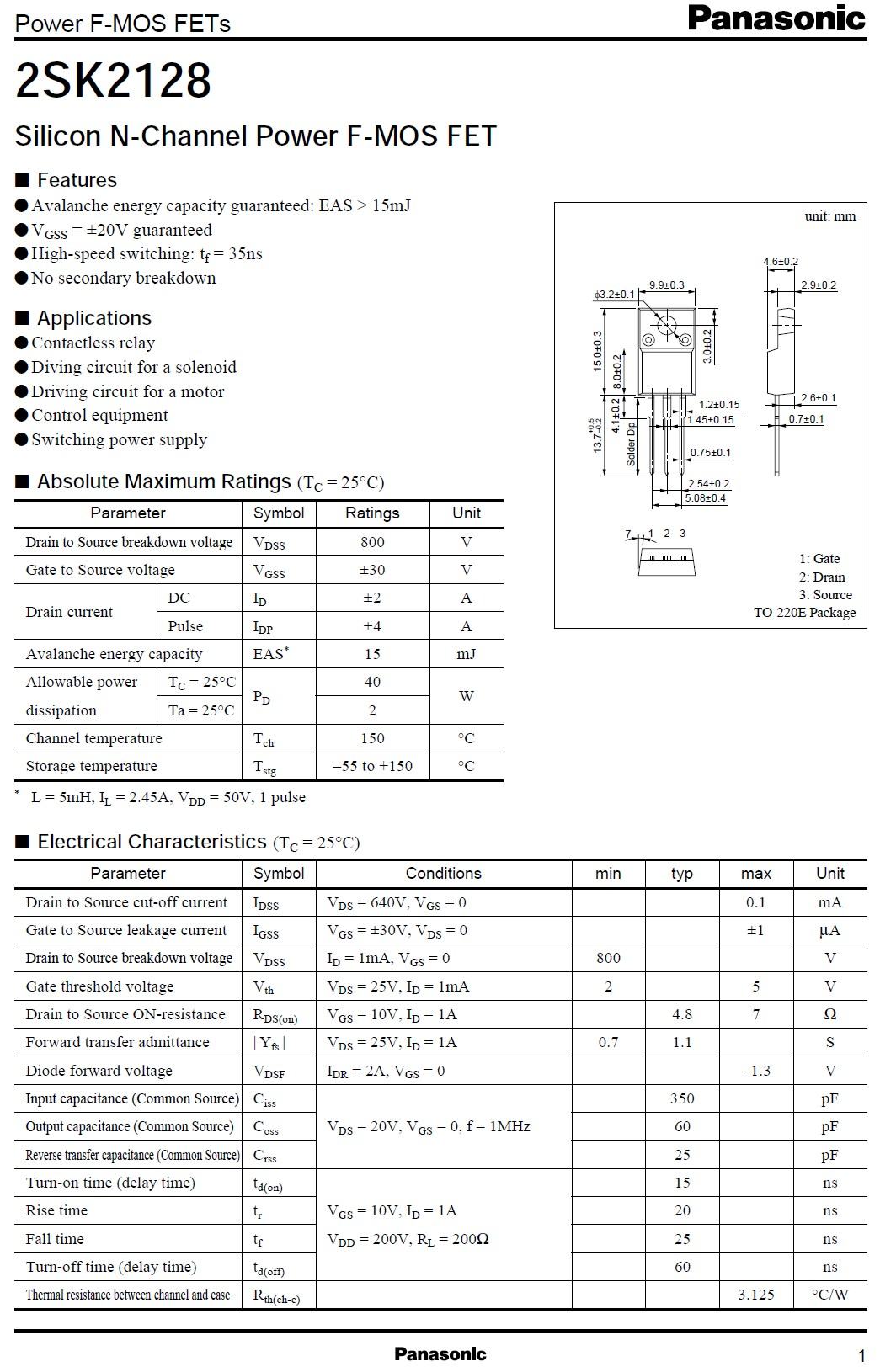 Tranzisztor N-MOSFET 800V 2A 40W <7R(1A) 2SK2128 2SK2128 -
