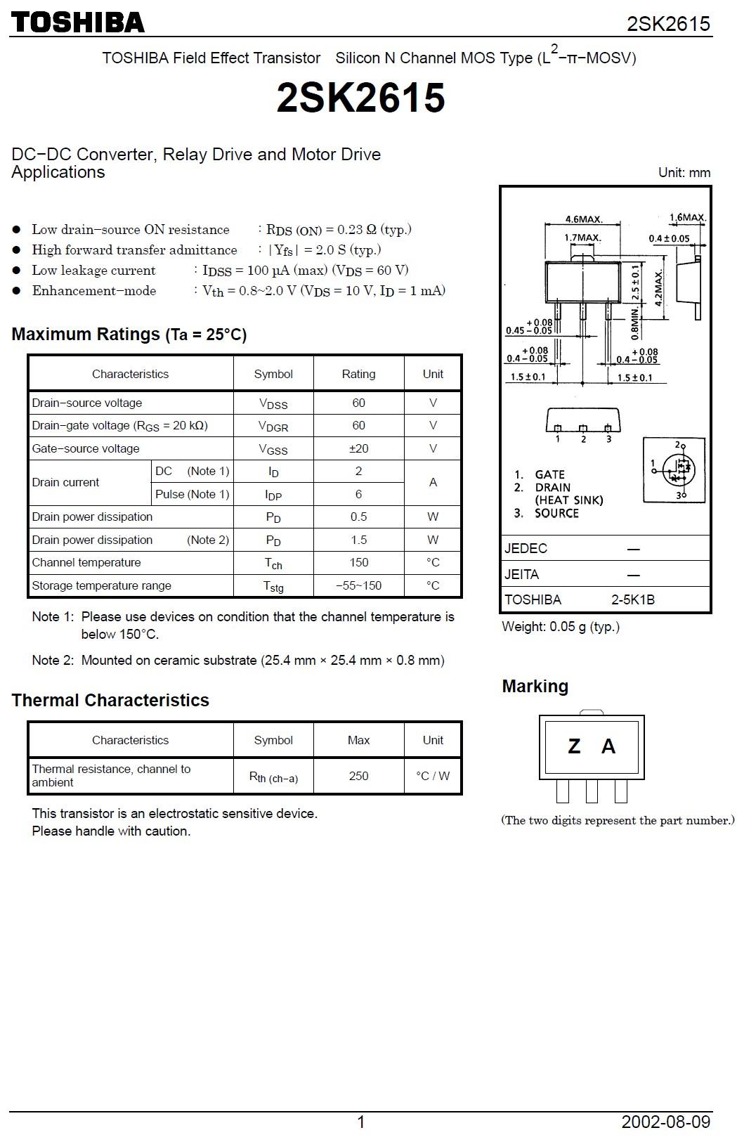 Tranzisztor N-MOSFET 60V 2A/6A 1.5W 0.33R (1.5A) 2SK2615 2SK2615 -