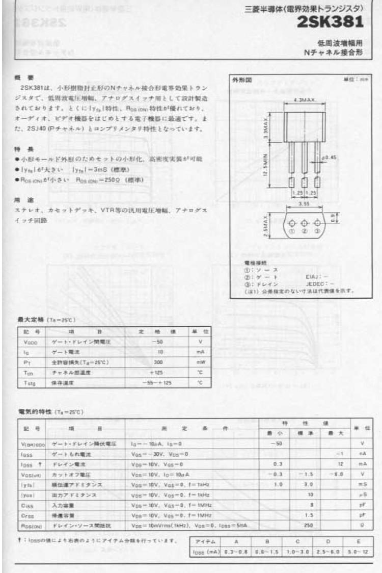 Tranzisztor N-FET 50V Idss>0.3mA Up<6V 2SK381 2SK381