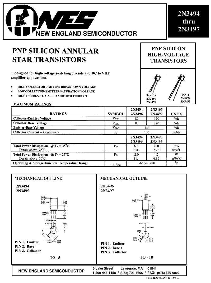 Tranzisztor NPN 120V 0.1A 0.6W >150MHz UN 2N3495 2N3495 -