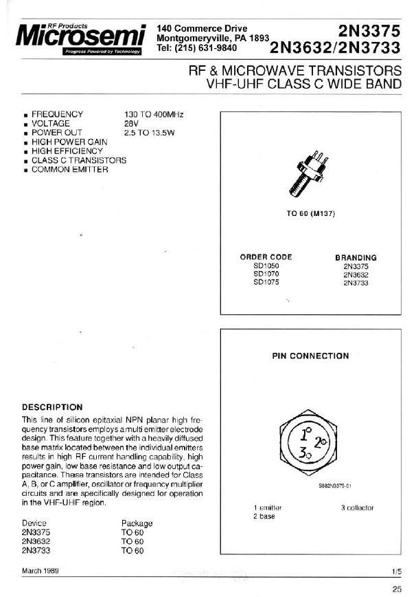 Tranzisztor NPN 40/65V 3A PQ=13.5W 175MHz 2N3632 2N3632