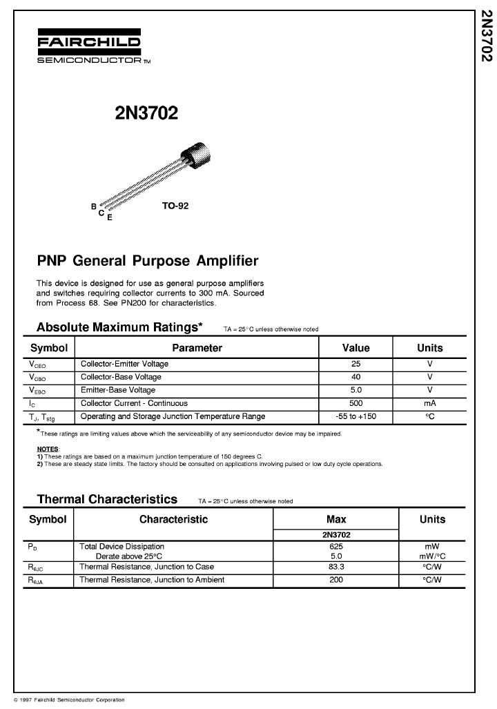 Tranzisztor PNP 40V 0.2A 0.3W >100MHz UNI 2N3702 2N3702 -