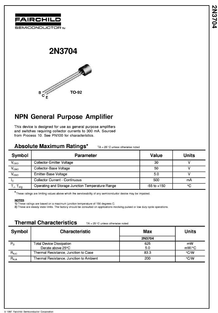 SI-N 50V 0.8A 0.36W 100MHz UNI 2N3704 -