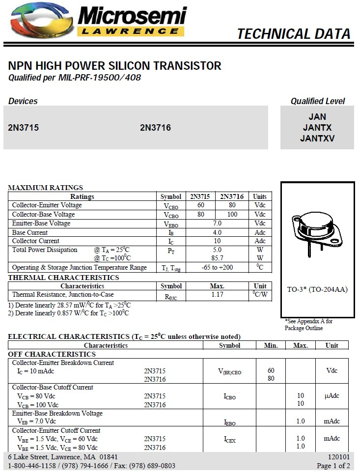 Tranzisztor NPN 100V 10A 150W >4MHz NF/L 2N3716 2N3716 -