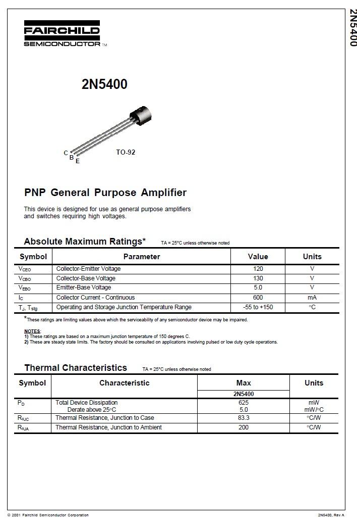 SI-P 130V 0.6A 0.625W >100MHz 2N5400 -