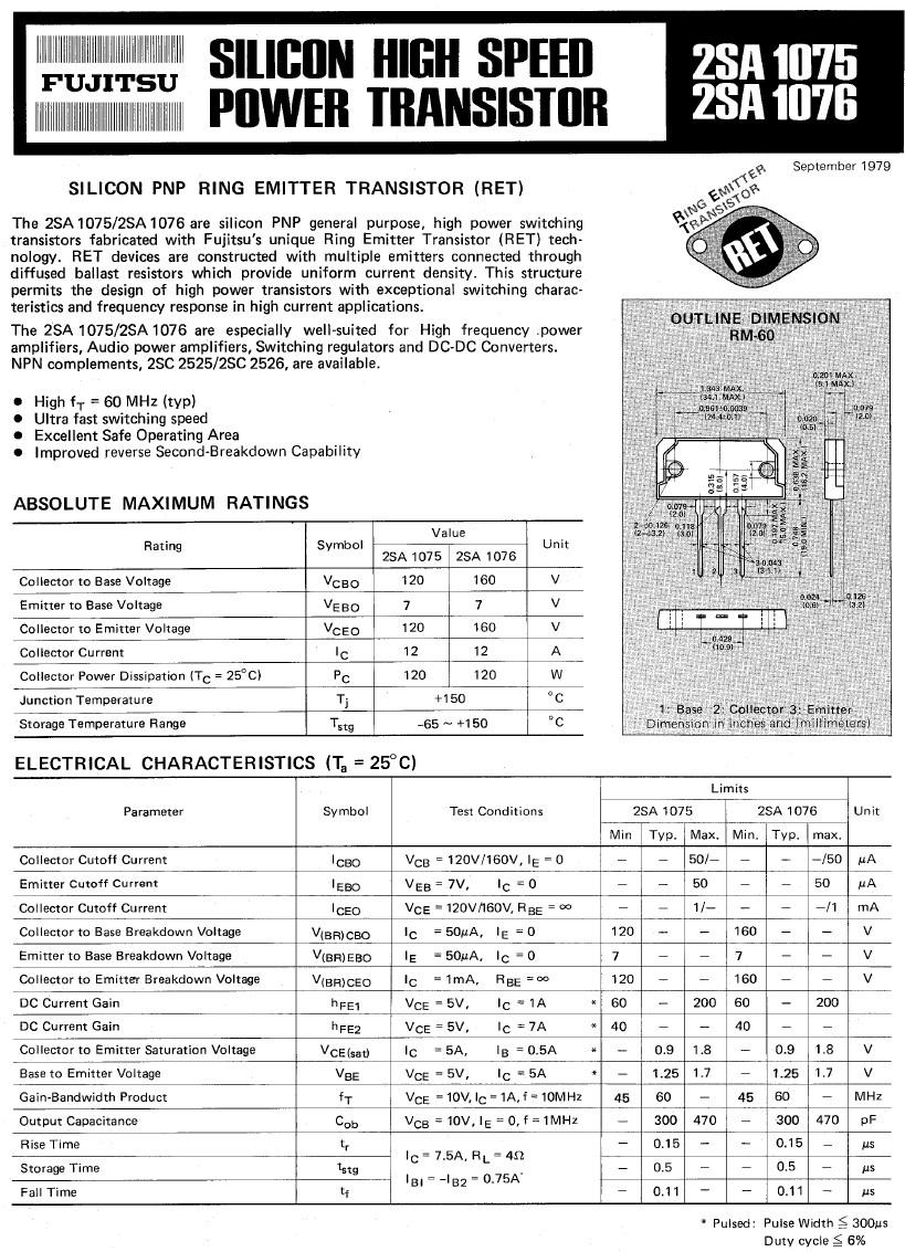 Tranzisztor PNP 120V 12A 120W 60MHz NF/SL 2SA1075 2SA1075