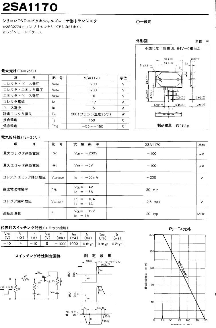 Tranzisztor PNP 200V 17A 200W 20MHz NF/SL 2SA1170 2SA1170