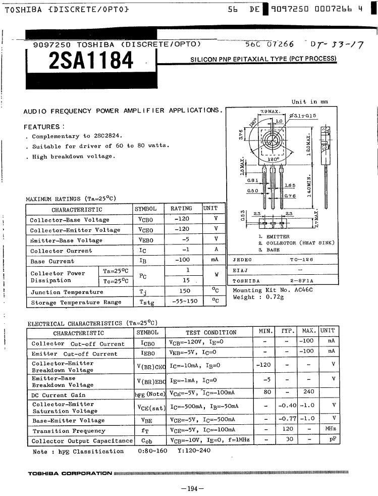SI-P 120V 1A 15W 120MHz NF/TrL 2SA1184 -